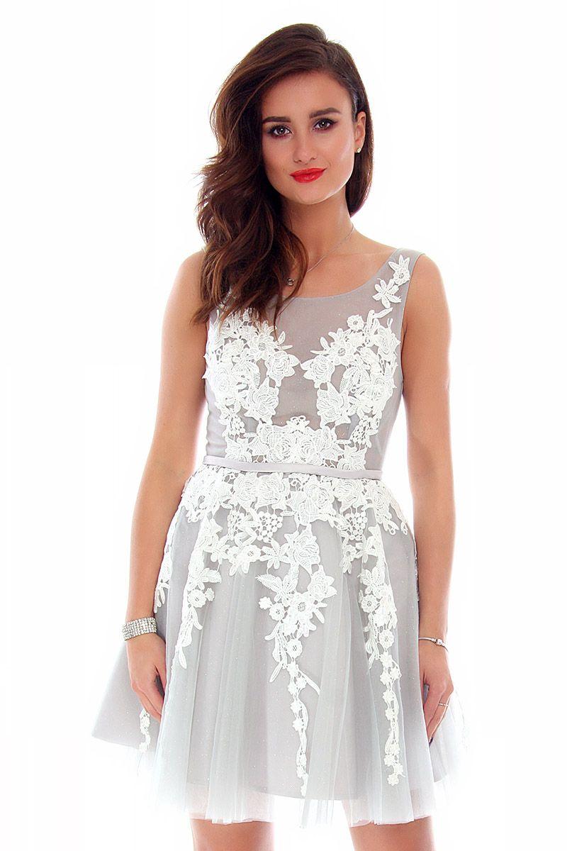 59cda5c05a Sukienka tiulowa z gipiurą CMW11 szara sukienki na wesele CosmosModa