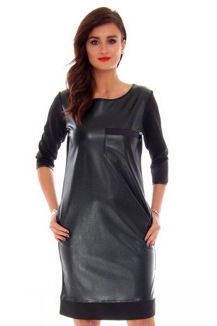 Sukienka skórzana midi CM072 czarna