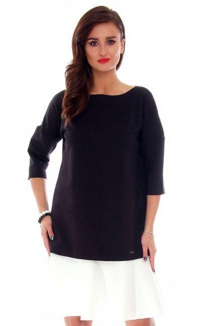 Sukienka z falbanką midi CM216 czarna