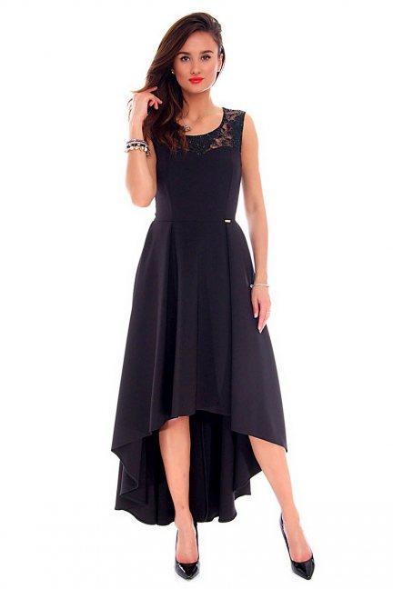Sukienka asymetryczna CMK692 czarna