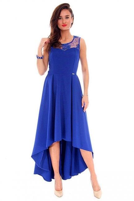 Sukienka asymetryczna CMK692 chabrowa