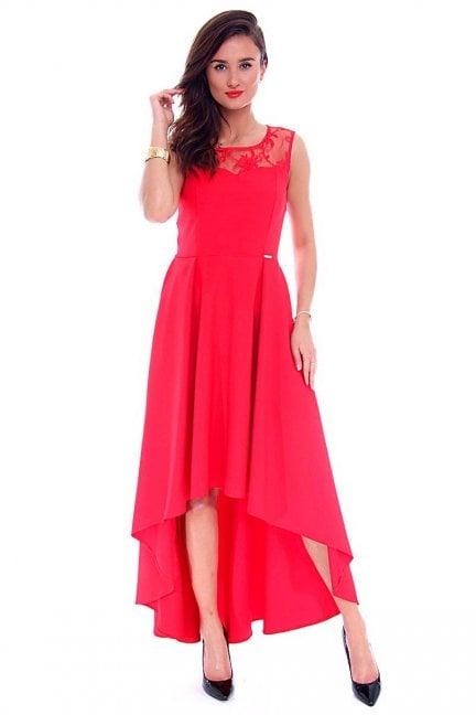 Sukienka asymetryczna CMK692 czerwona