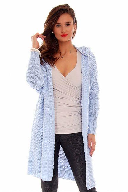 Kardigan sweter kaptur CMK693 błękitny