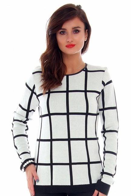 Sweter ciepły w kratkę CMK2007 biało-czarny