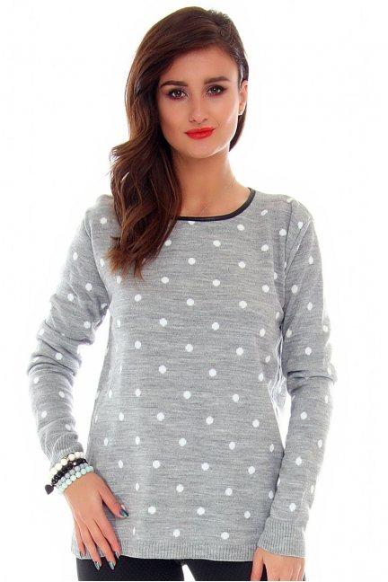 Sweter w kropki lamówka CMK2005 szary