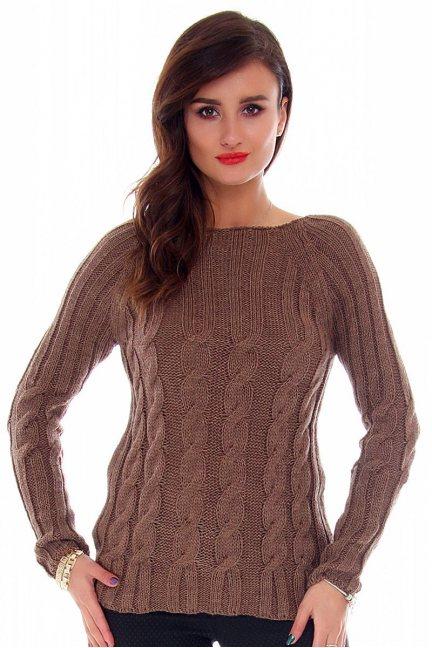 Sweter ciepły w warkocze CMK2009 brązowy