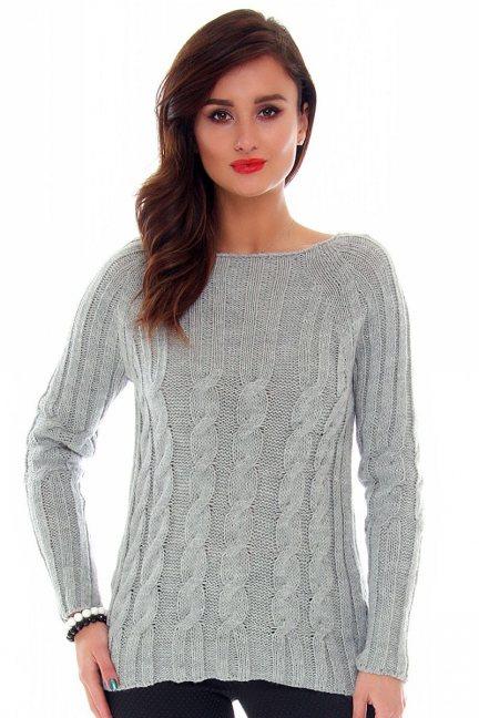 Sweter ciepły w warkocze CMK2009 szary