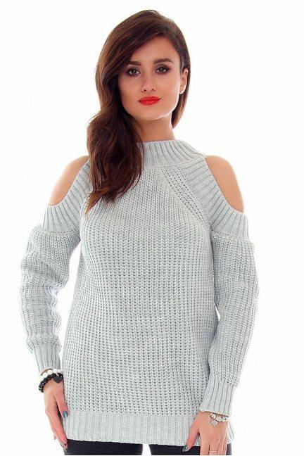Sweter odkryte ramiona CMK2022 szary