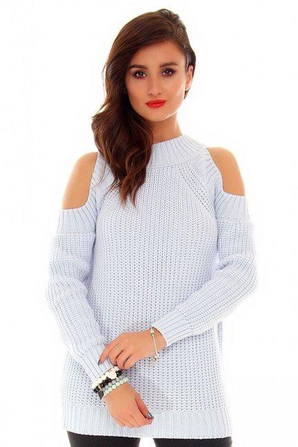 Sweter odkryte ramiona CMK2022 błękitny
