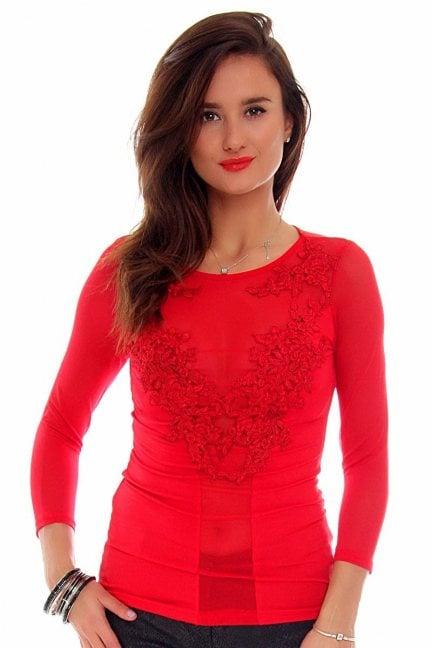 Bluzka damska z koronki CMK694 czerwona