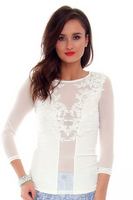Bluzka damska z koronki CMK694 biała