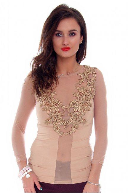 Bluzka damska z koronki CMK694 beżowa
