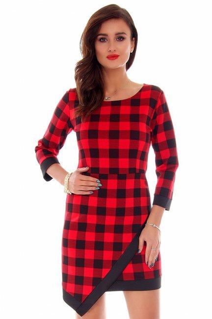 Sukienka asymetryczna CM358 czerwona