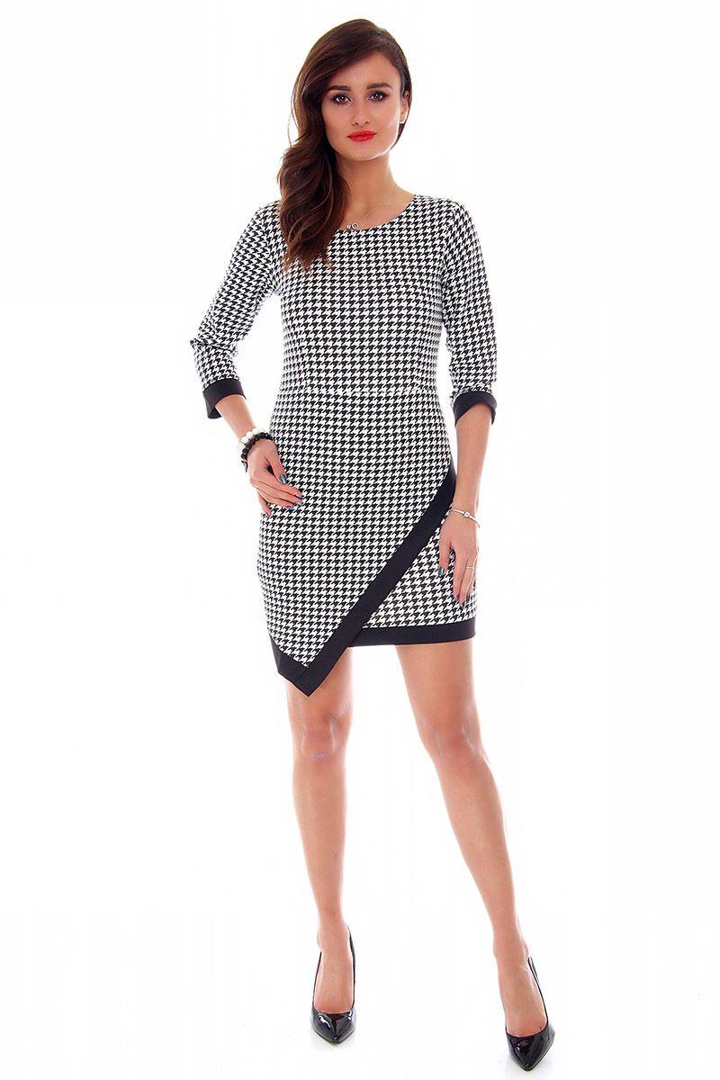 0da7f179df Sukienka asymetryczna CM358 czarno-biały  Sukienka damska w pepitkę ...
