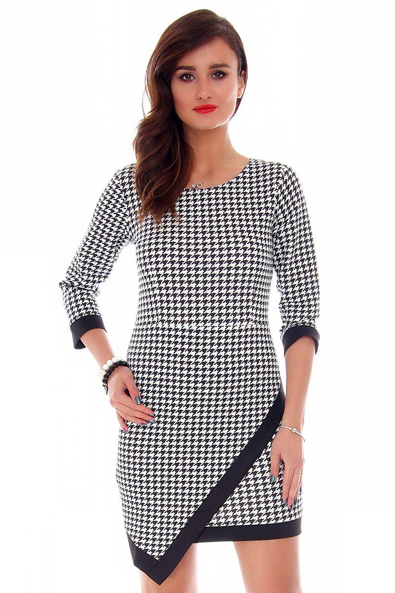 1a0908416a Sukienka asymetryczna w pepitkę CM358 modne sukienki online CosmosModa