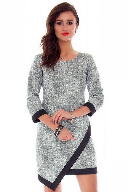 Sukienka asymetryczna CM358 szara