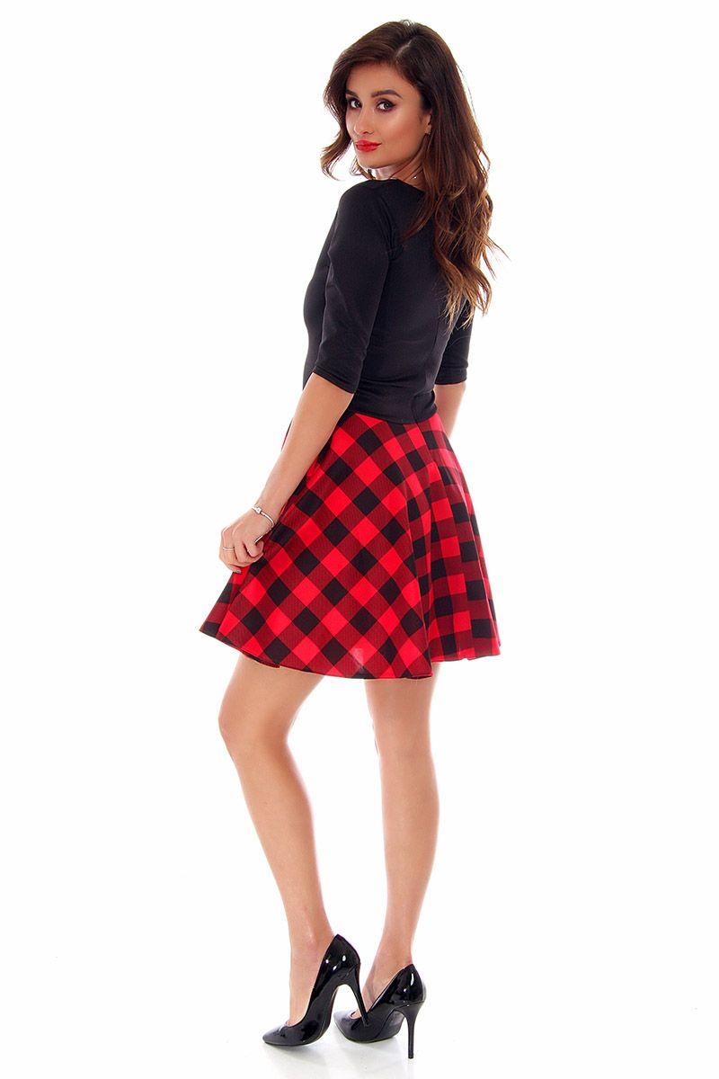 4b56572cb0 Sukienka rozkloszowana w kratkę CM220 czerwona sklep online CosmosModa