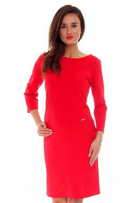 Sukienka elegancka midi CMK709 koralowa