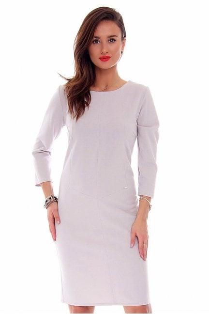 Sukienka elegancka midi CMK709 szara