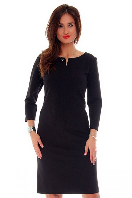 Sukienka dopasowana CMK710 czarna