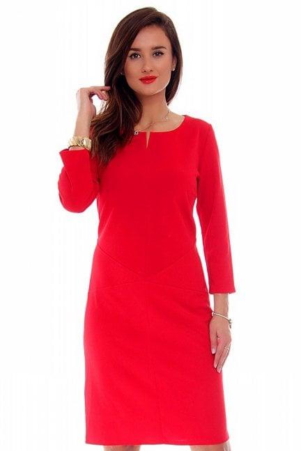 Sukienka dopasowana CMK710 czerwona