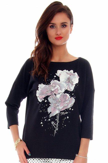 Bluzka damska kwiaty CMK713 czarna