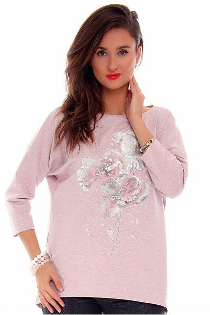 Bluzka damska kwiaty CMK713 różowa