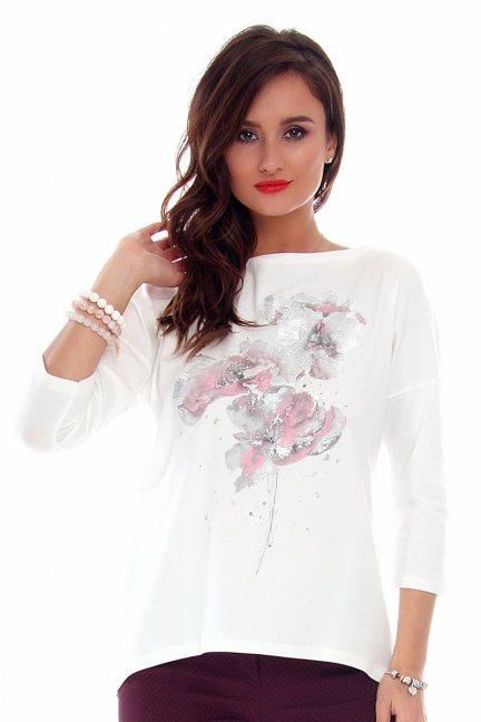 Bluzka damska kwiaty CMK713 biała