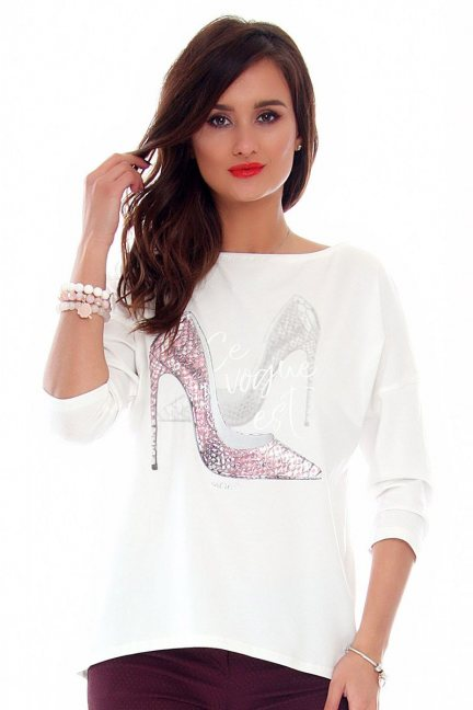 Bluzka damska szpilki CMK714 biała