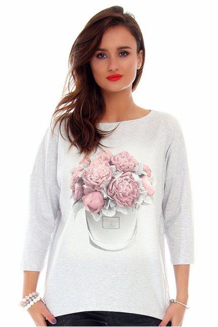 Bluzka damska kwiaty CMK715 szara