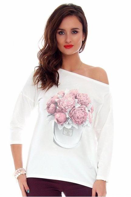 Bluzka damska kwiaty CMK715 biała