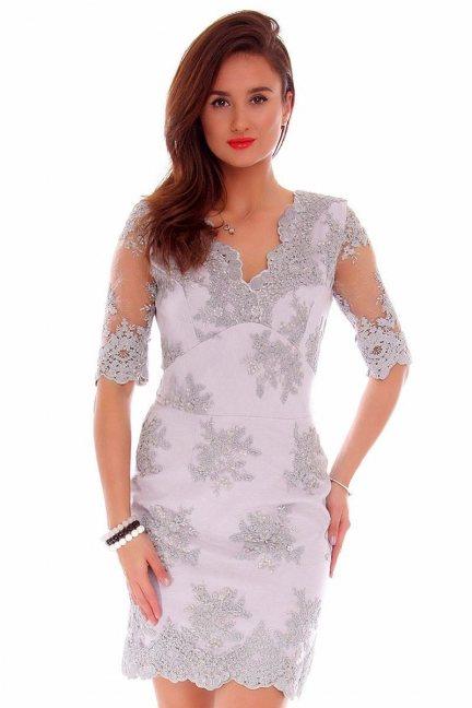 Sukienka koronkowa CMK707 szara