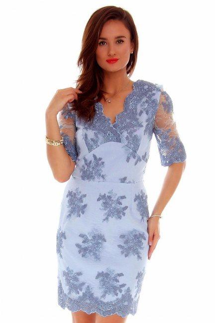 Sukienka koronkowa CMK707 błękitna