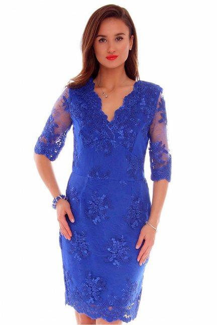 Sukienka koronkowa CMK707 chabrowa