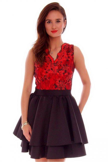 Sukienka koronkowa klosz CMK706 czarna
