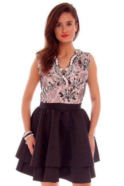 Sukienka koronkowa klosz CMK706 czarno-różowa