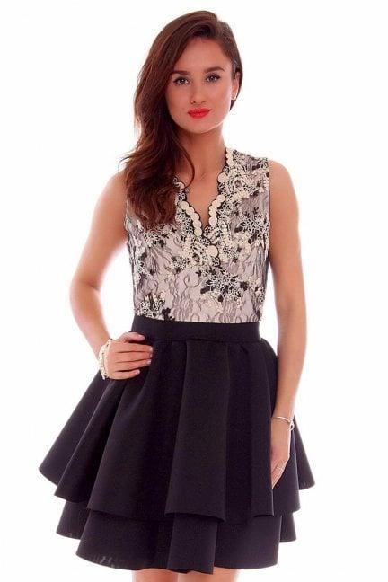 Sukienka koronkowa klosz CMK706 czarno-beżowa