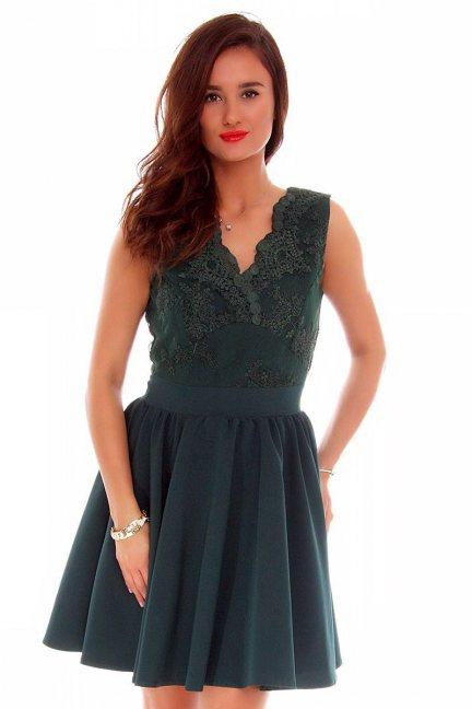 Sukienka rozkloszowana zielona