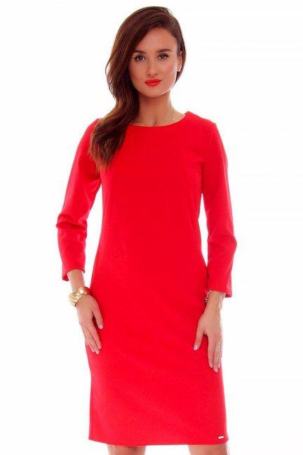 Sukienka wizytowa midi CMK711 czerwona