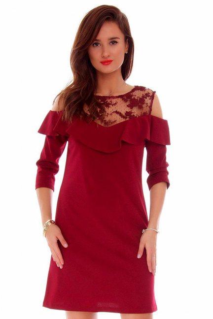 Sukienka wycięte ramiona CMK704 bordowa