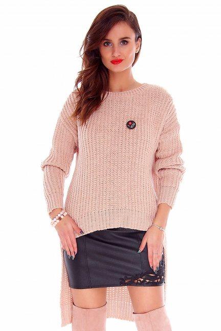 Sweter asymetryczny CMK716 morelowy