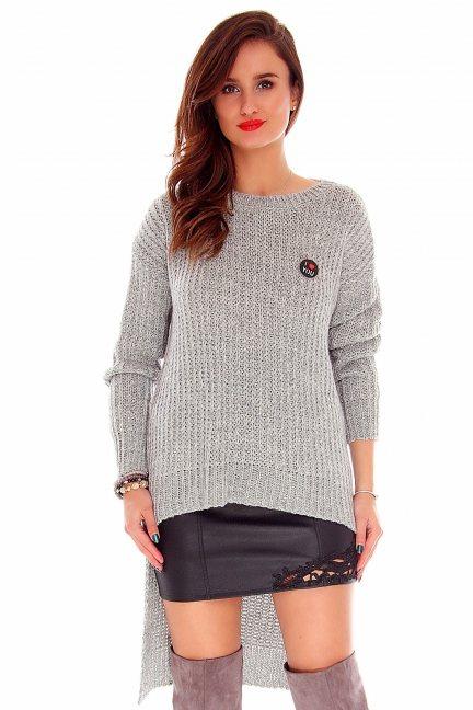 Sweter asymetryczny CMK716 szary