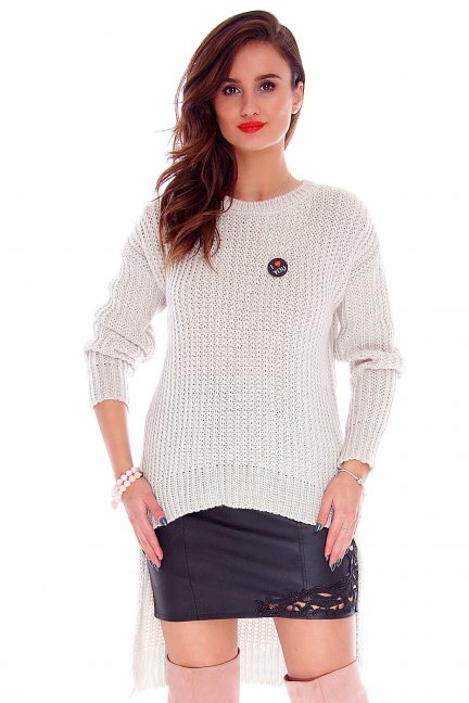 Sweter asymetryczny CMK716 beżowy