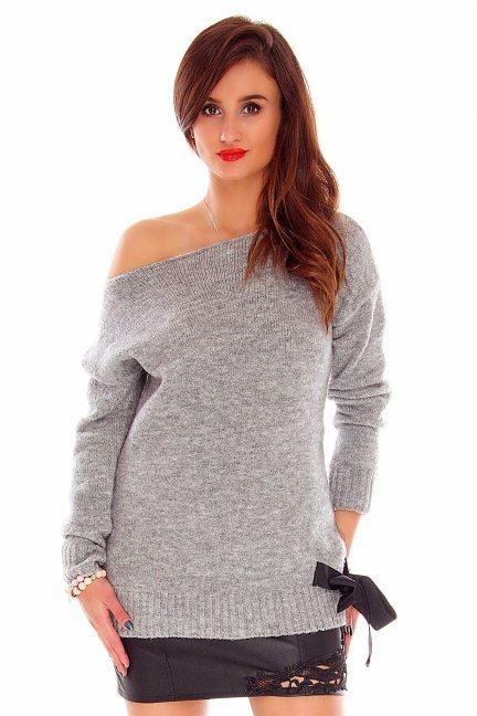 Sweter z kokardką CMK718 szary