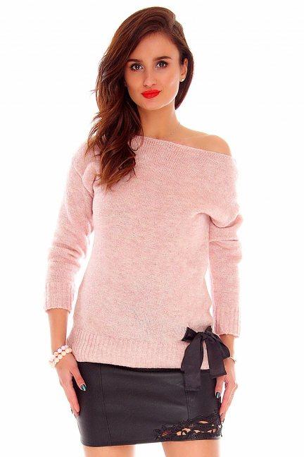 Sweter z kokardką CMK718 różowy