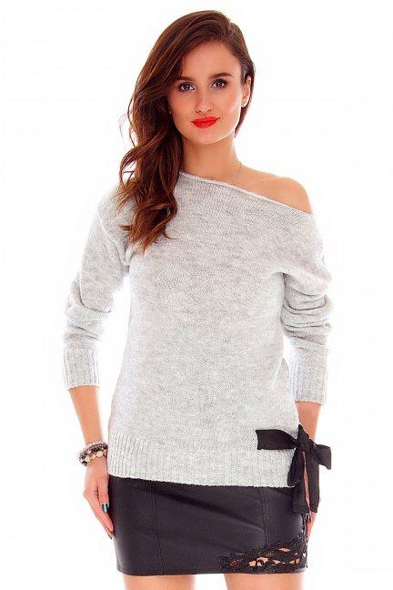 Sweter z kokardką CMK718 jasny szary