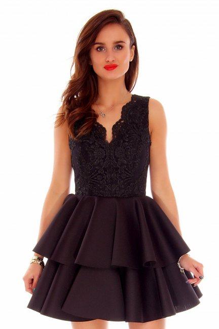 Sukienka koronka falbanki CMK686 czarna