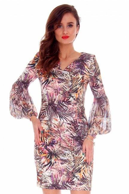 Sukienka dopasowana CMK719 fioletowa