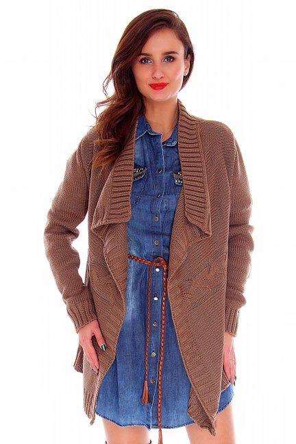 Sweter kardigan narzutka CMK2010 brązowy
