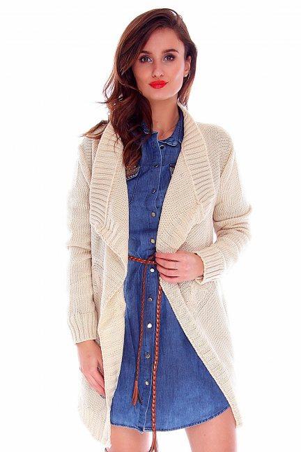 Sweter kardigan narzutka CMK2010 beżowy